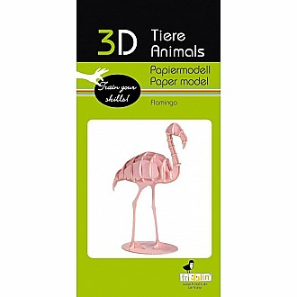 3-D Animal Paper Model Flamingo
