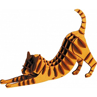 3-D Animal Paper Model Cat Redbrown