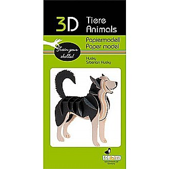 3-D Animal Paper Model Dog Husky