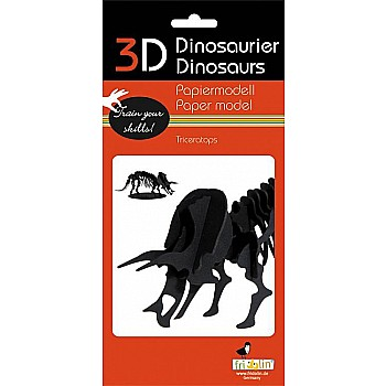 3-D Animal Paper Model Dinosaur Triceratops