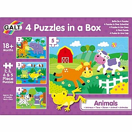 4 Puzzles in a Box - Animals - large peices