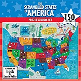 150 Piece Scrambled States of America Puzzle & Book Set