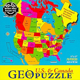GeoPuzzle USA & Canada 69 pieces