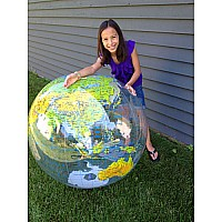 "36"" Jumbo Inflatable Clear Toplographic Globe"