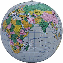 "12"" Blue Political Inflatable Globe - Geotoys Packaging"