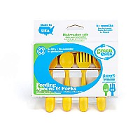 Green Eats Feeding Spoons and Forks  4 EA Per Set  Yellow