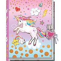 Diary With Lock In A Sealed PVC Package, Unicorn (new)