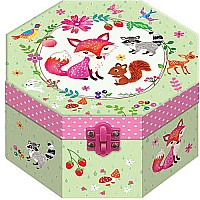 Scented Octagon Shaped Musical Jewelry Box, Flower Critter