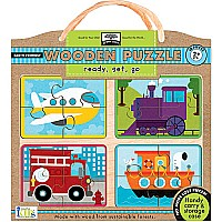 Innovative Kids Green Start Wooden Puzzles Ready, Set, GO