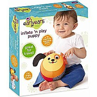 Earlyears Inflate N' Play Puppy - Machine Washable Fabric Covered Ball with Jingle Sounds & Crinkle Ears Baby Toy