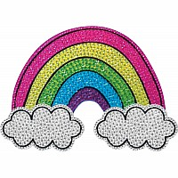 Rainbow and Clouds Large Rhinestone Decal