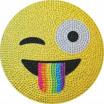 Crazy Face Emoji Large Rhinestone Decal