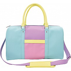Color Block Faux Leather Duffle Bag