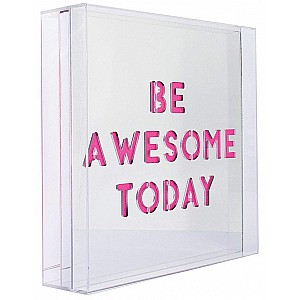 Be Awesome Large Pink Acrylic Light Box