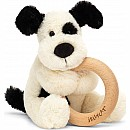 Bashful Black And Cream Puppy Wooden Ring Rattle