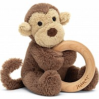 Bashful Monkey Wooden Ring Rattle