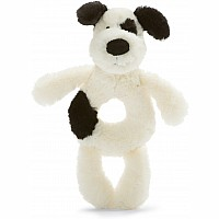 Bashful Black & Cream Puppy Ring Rattle