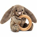 Bashful Woodland Bunny Wooden Ring Rattle