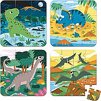 4 Progressive Difficulty Puzzles - Dinosaurs (6-9-12-16 Pcs)