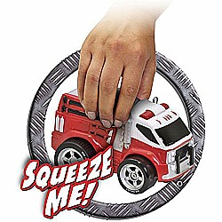 Squeezable Remote Control Fire Truck. RC Toy for Preschool Kids Ages 2 and Up, Red