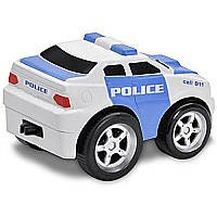 Kid Galaxy Squeezable Pull Back Police Car. Toddler Emergency Vehicle Toy for Kids Age 2 and Up