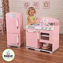 Pink Retro Kitchen with Fridge