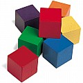 1 Inch Wooden Color Cubes, Set of 100