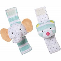 Playtime Plush Elephant & Bear Wrist Rattle Set