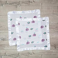Elephants Muslin Cotton Security Blankets - 2 pack - 16x16""
