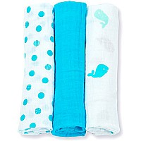 Lulujo Brilliant Blues Mini Cotton Cloths - 28x28""