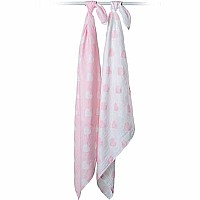 Lulujo Pink Hearts Cotton Swaddles - 40x40""