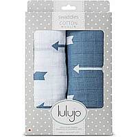 Lulujo Blue Arrows Cotton Swaddles - 40x40""