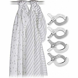 Lulujo Two-Pack Swaddles & Clips - Grey - 47x47""