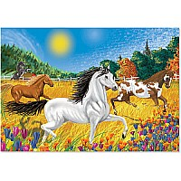 0100 PC Horses In the Meadow Cardboard Jigsaw
