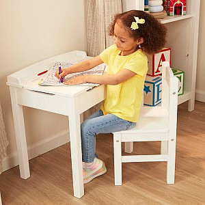 Child's Lift-Top Desk & Chair - White