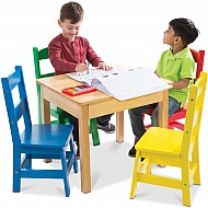 Table & 4 Chairs - Primary Colors