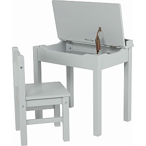 Wooden Lift-Top Desk & Chair - Gray