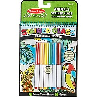 Stained Glass coloring pad with markers- Animals