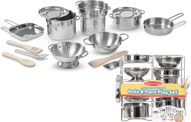 Deluxe Stainless Steel Pots Pans Play Set Melissa Doug Bens