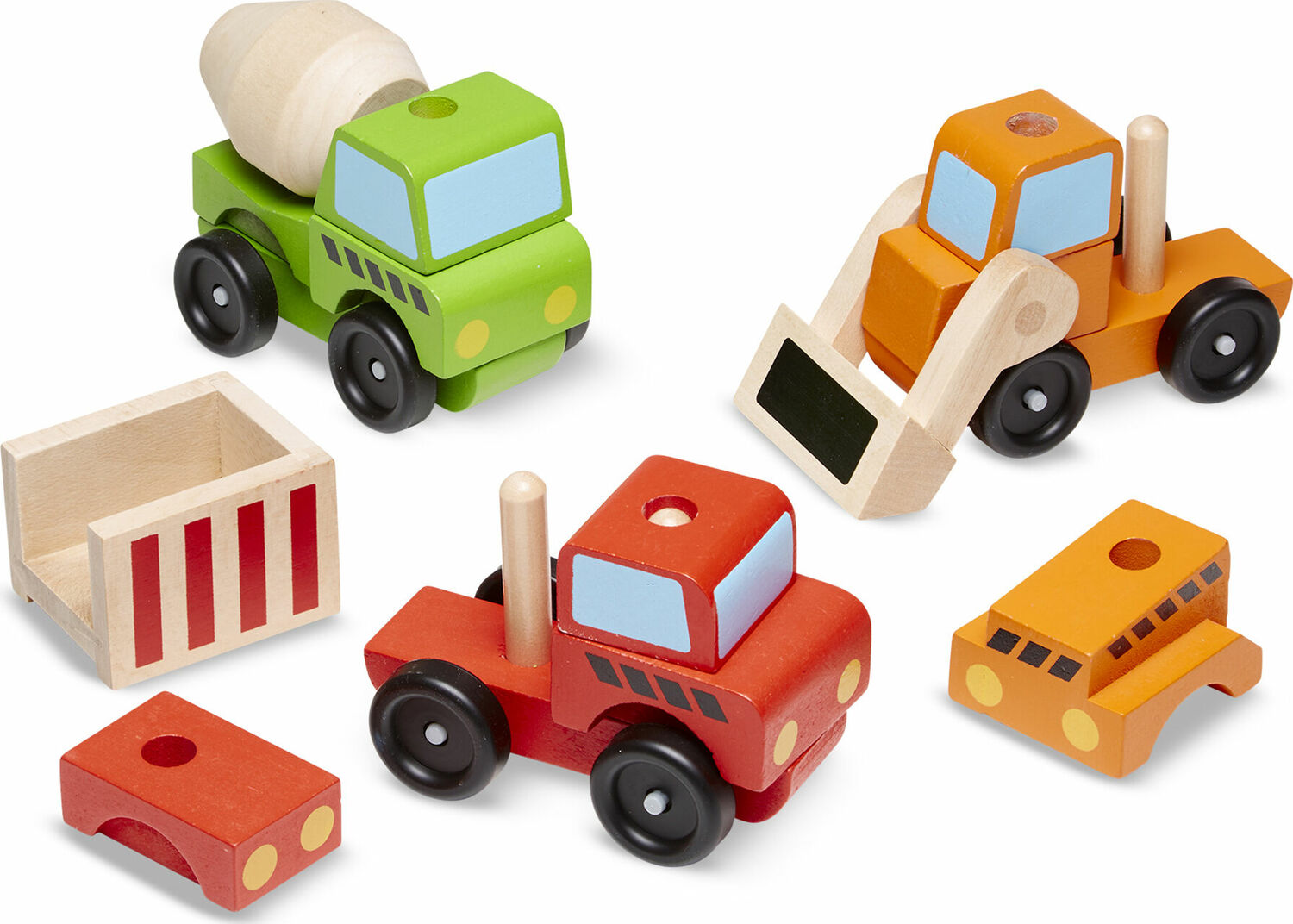 stacking construction vehicles - the wooden toy