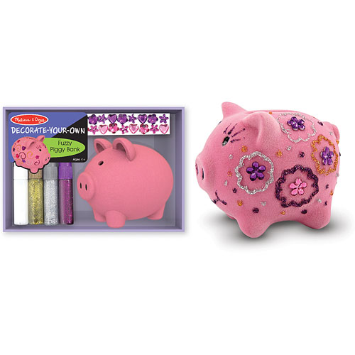 Fuzzy piggy bank decorate your own givens books and for Create your own piggy bank