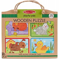 Natural Play Wooden Puzzle: Playful Pals