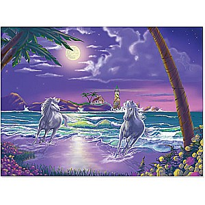 Seaside Stallions Cardboard Jigsaw - 500 piece