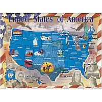 0500 PC Map of the USA Cardboard Jigsaw