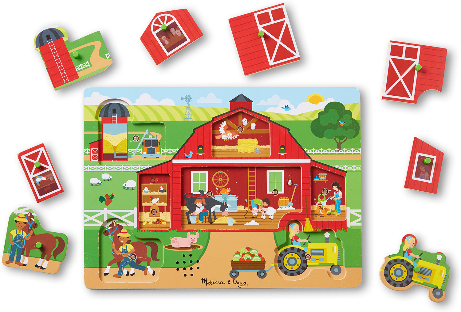 Melissa Doug Around The Farm Sound Puzzle 8 Piece The