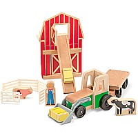 Whittle World-9-piece Wooden Farm  Tractor Set