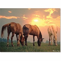 300 pc Sunset Horses Cardboard Jigsaw