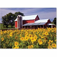 300 pc Sunflower Farm Cardboard Jigsaw Puzzle