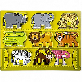 Stacking Wooden Chunky Puzzle - Zoo Animals