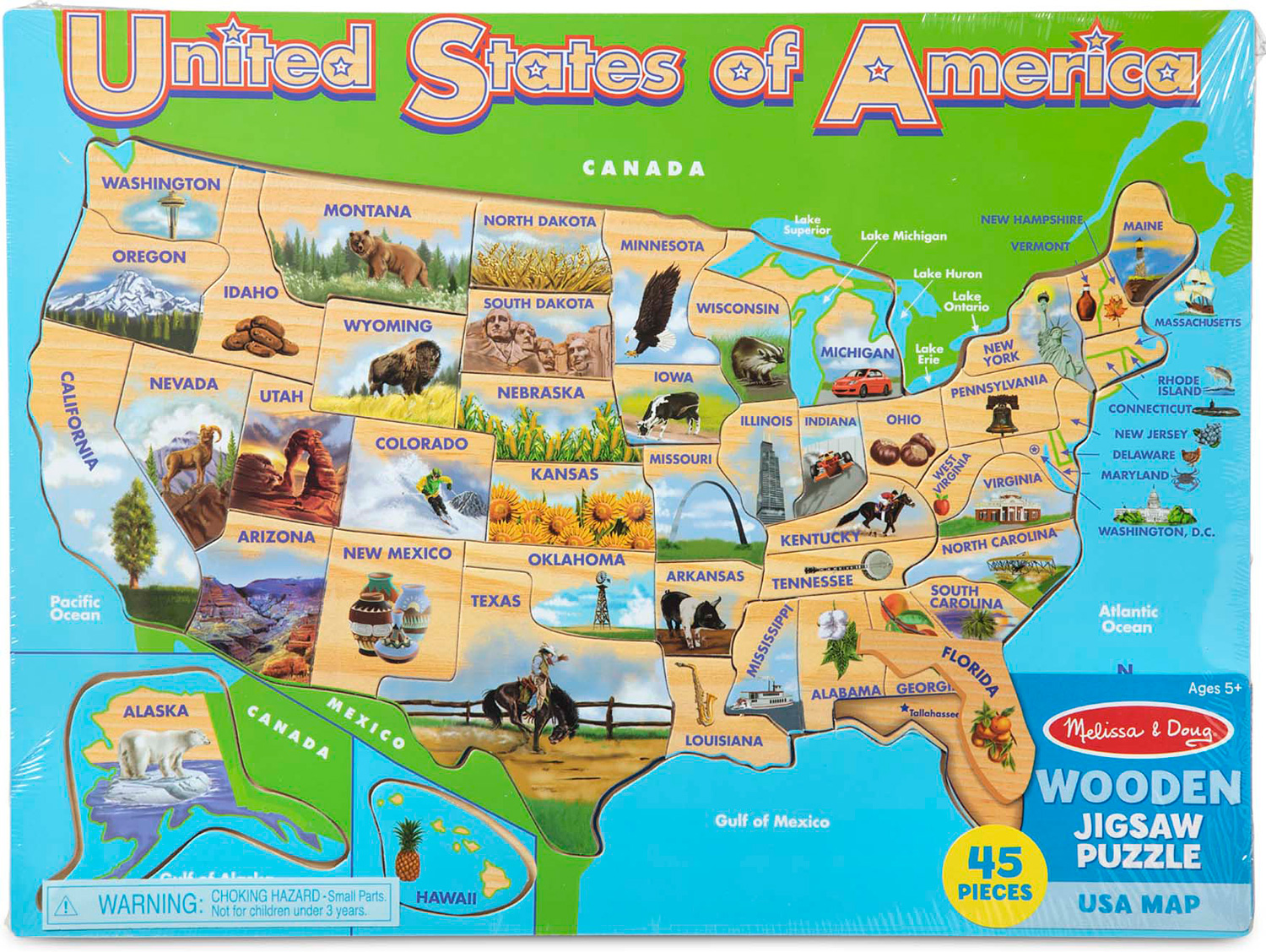 USA Map Frame Puzzle Naturally Curious Kids - United states map picture frame
